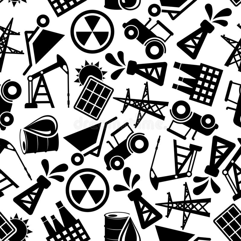 Energy Resources Black And White Seamless Pattern Stock