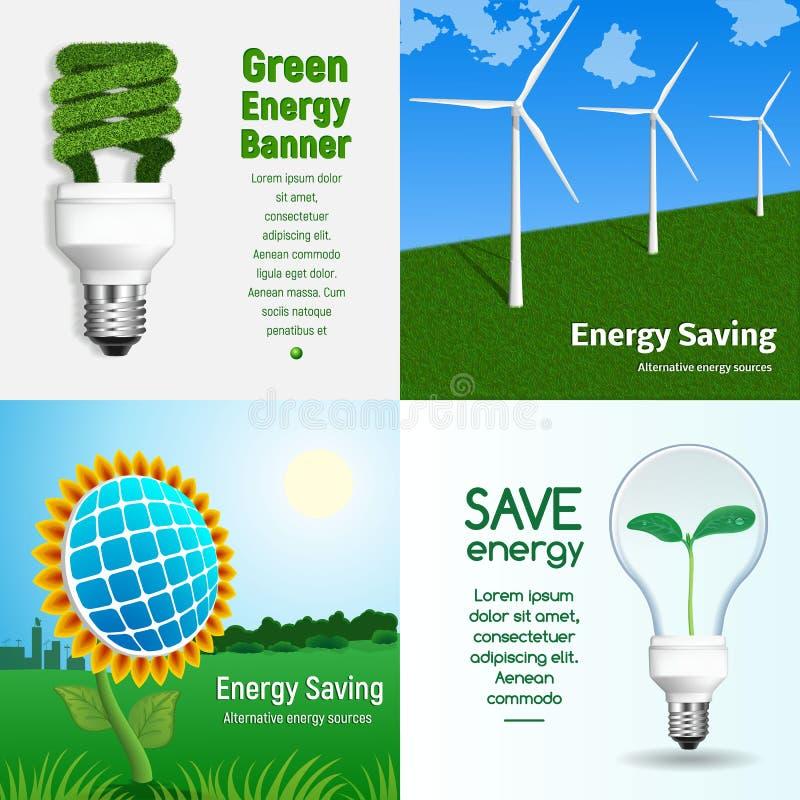 Energy saving banner set, realistic style royalty free illustration