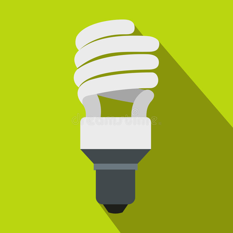 Energy saving bulb icon, flat style stock illustration