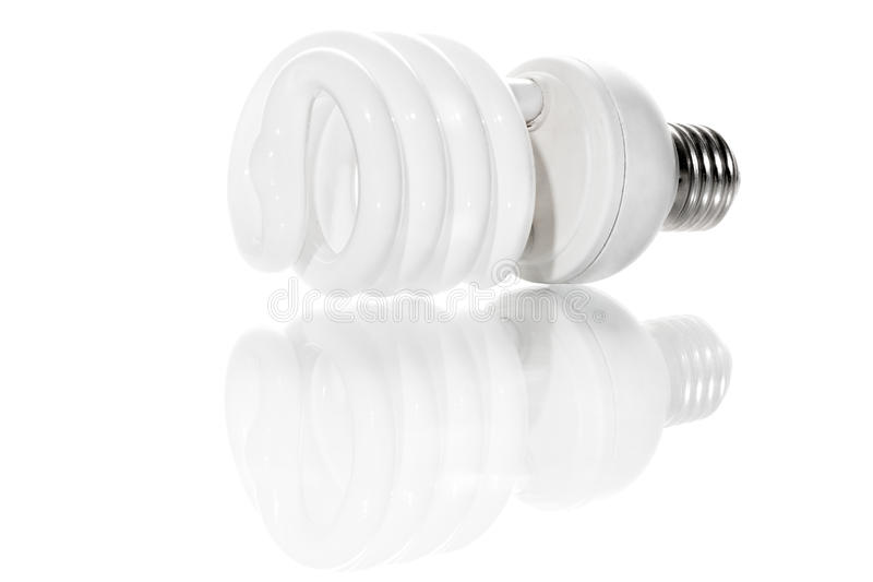 Energy saving bulb spiral. Energy saving lamp spiral on white background stock image