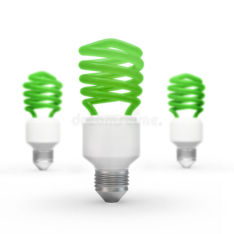 Energy saving bulbs. Three energy fluorescent saving bulbs stock images
