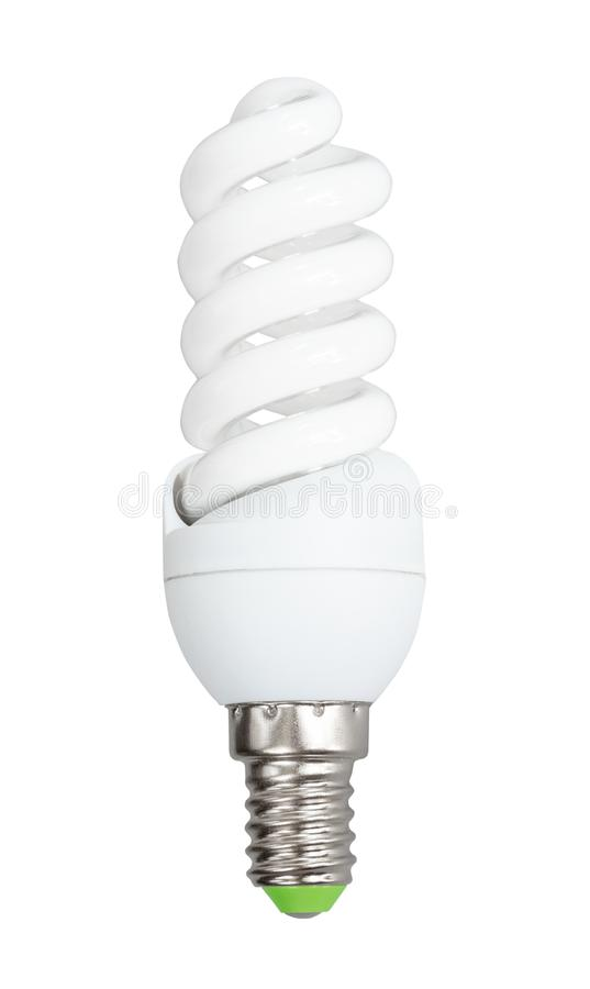 Compact fluorescent light bulb cut out on white. Energy saving compact fluorescent light bulb cut out on white background royalty free stock photo
