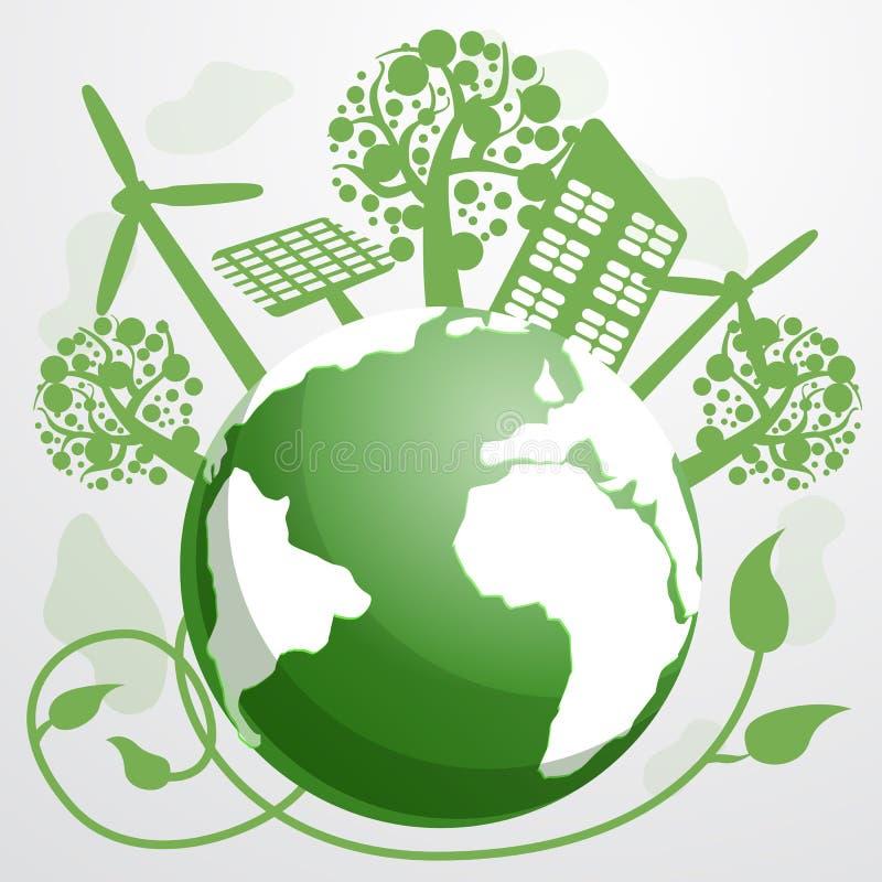 Energy saving concept background, cartoon style royalty free illustration