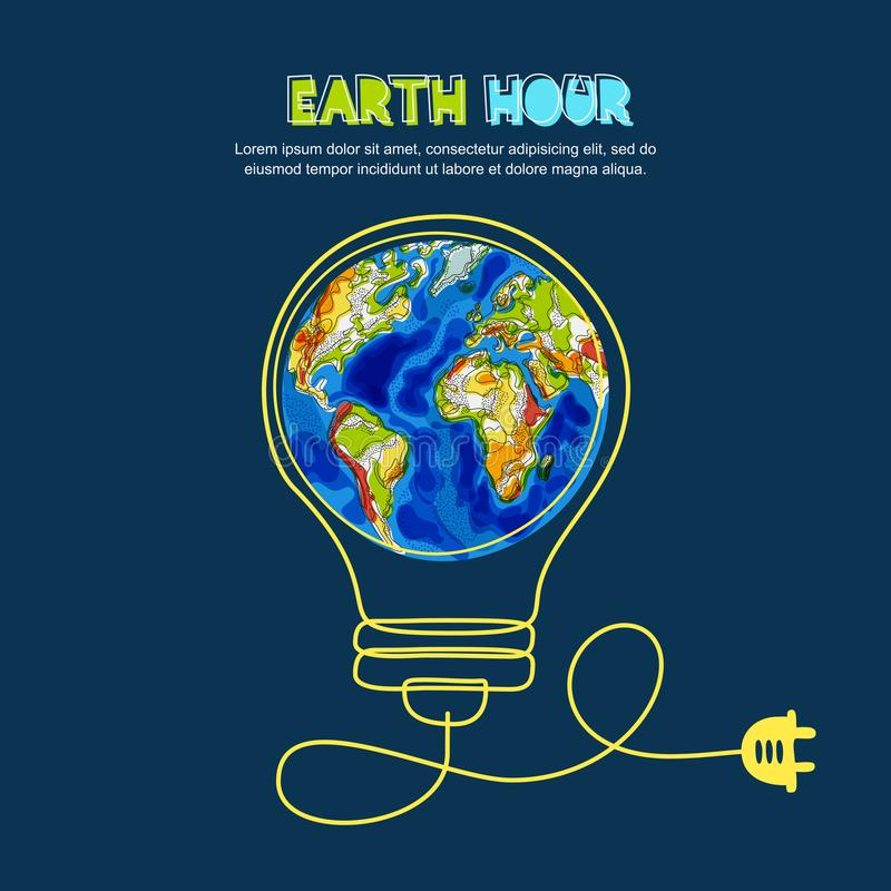 Energy saving, Earth hour concept. Vector illustration of Earth planet in light bulb. Renewable energy and environmental vector illustration