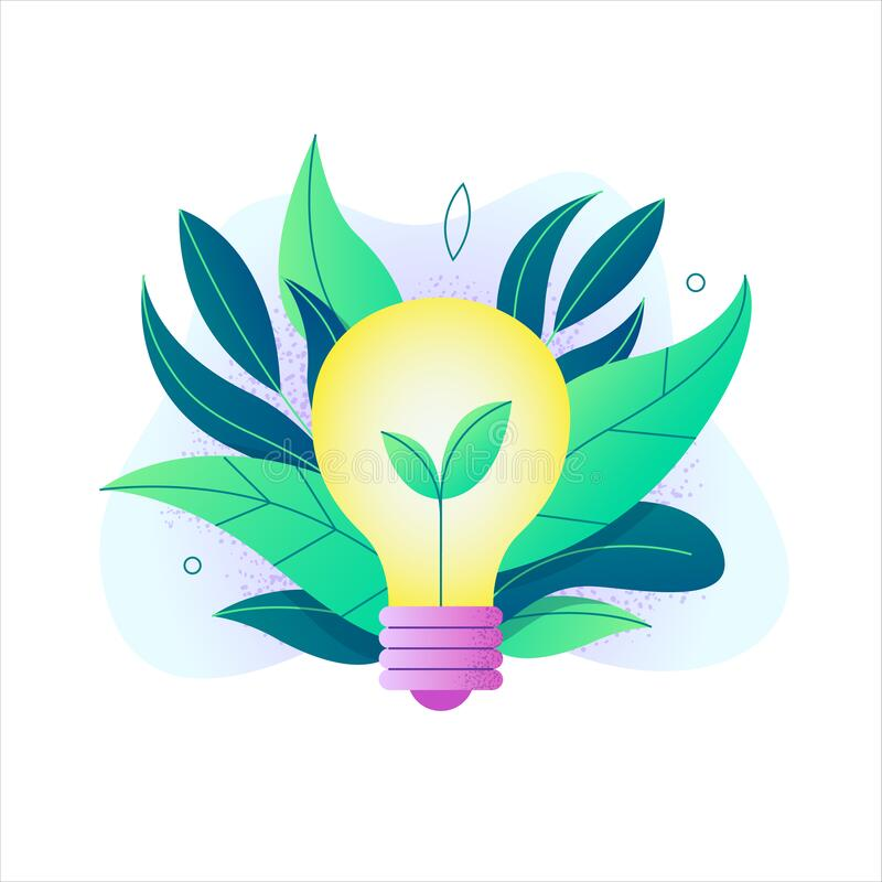 Light Bulb With People Inside Logo: Ecology Concept,the World Is In The Energy Saving Light