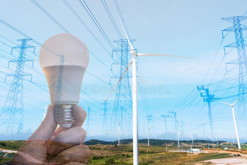 Energy saving With the environmentRenewable Energy royalty free stock photo
