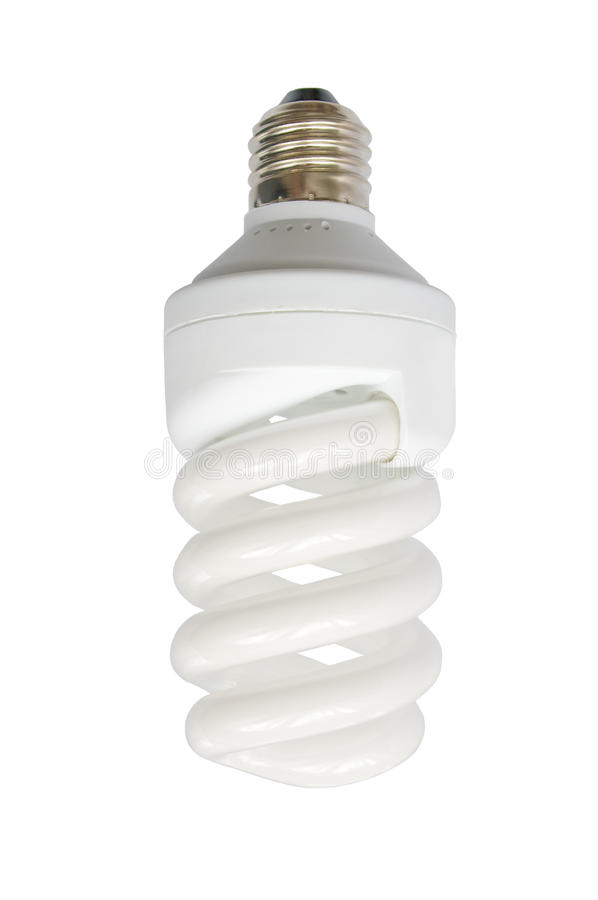 Energy saving fluorescent light bulb. (CFL) isolated on the white royalty free stock photos