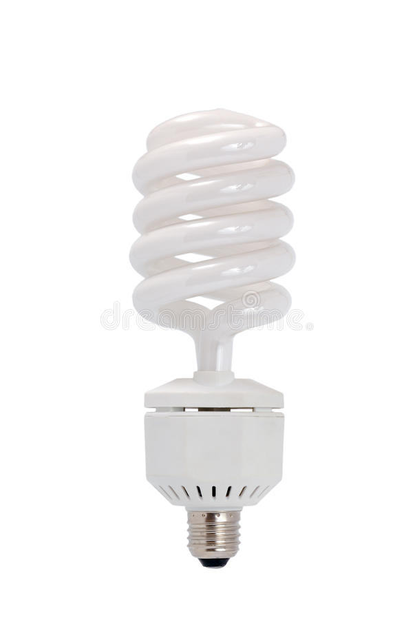 Energy saving fluorescent light bulb. (CFL) isolated on a white background stock image
