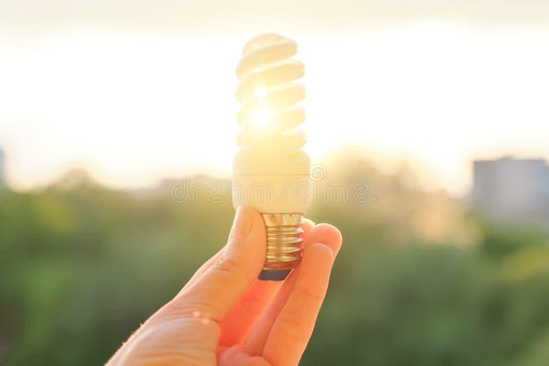 Energy saving fluorescent light bulb, hand holding lamp, evening sunset sky background.  royalty free stock photography