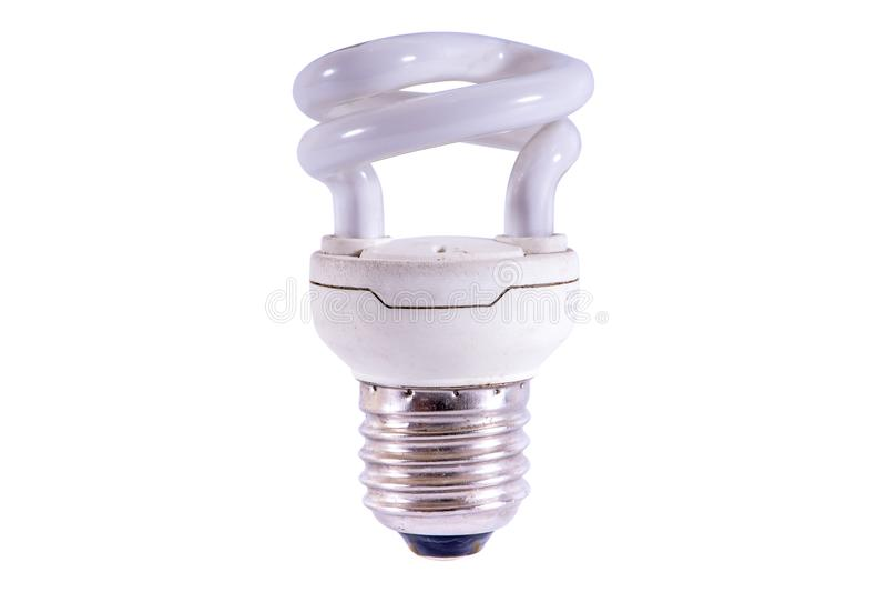 Energy saving fluorescent light bulb isolated on white bakground royalty free stock photo