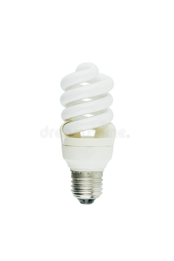 Energy saving fluorescent light bulb on white background stock photography