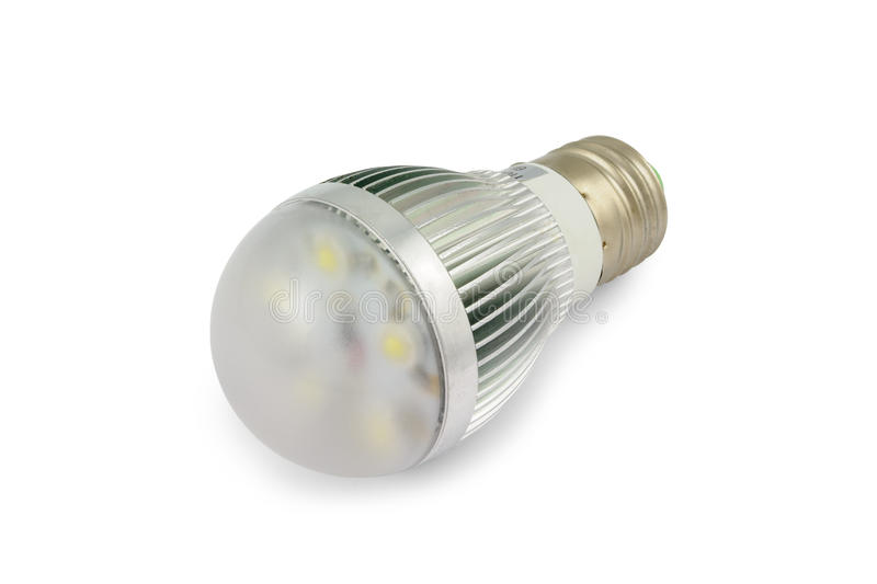 Energy saving High power LED light bulb E27. Isolated on white background with clipping path royalty free stock photography