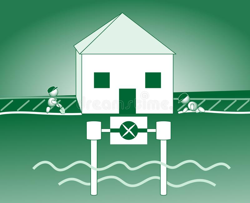 Energy saving house groundwater pump groundwater heat vector illustration