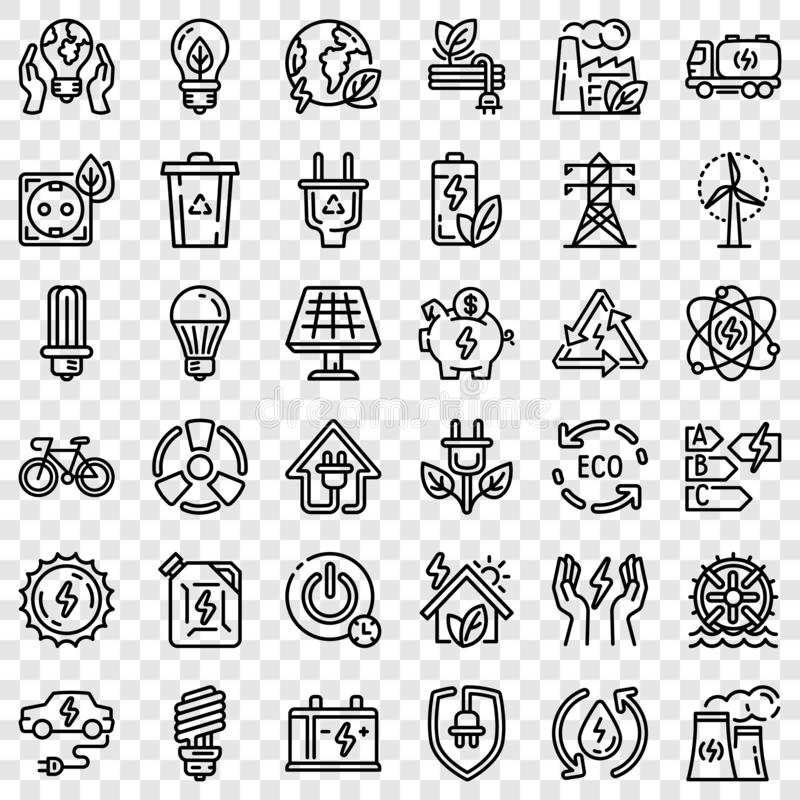 Energy saving icon set, outline style vector illustration