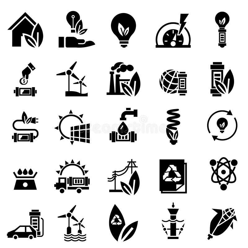 Energy saving icon set, simple style vector illustration