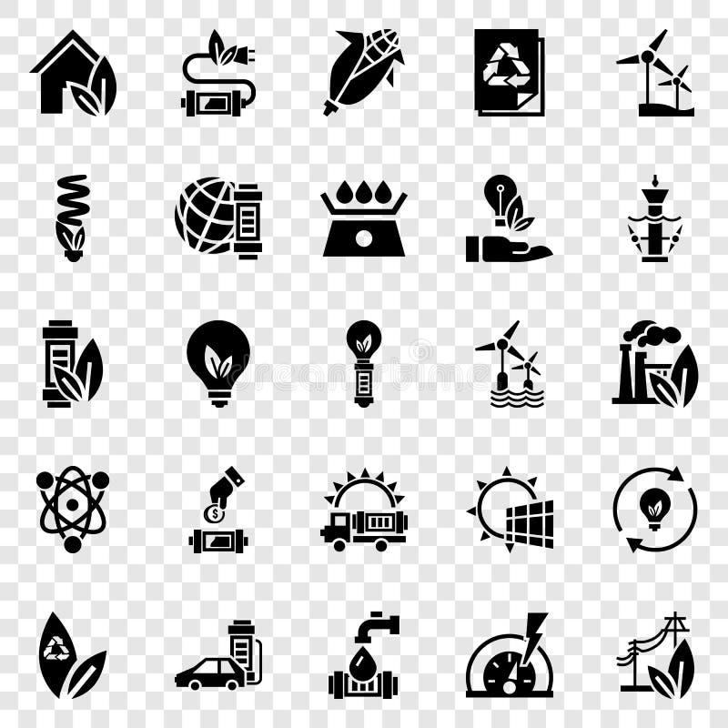 Energy saving icon set, simple style stock illustration