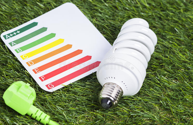 Energy saving lamp on green gras. Image shows a energy saving lamp with power cord on a green gras royalty free stock photography