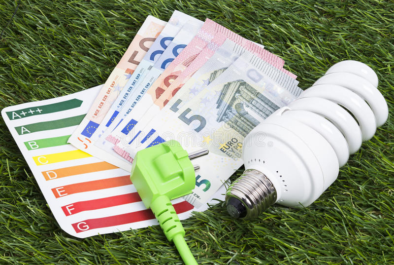 Energy saving lamp on green gras. Image shows a energy saving lamp with power cord and money on a green gras royalty free stock images