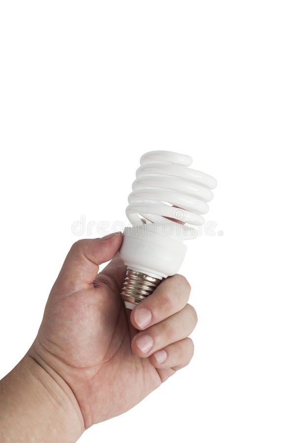 Energy saving lamp in the man's hand stock images