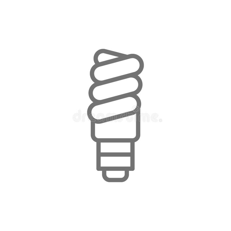 Energy saving lamp, utilization of light bulb line icon. Vector energy saving lamp, utilization of light bulb line icon. Symbol and sign illustration design stock illustration