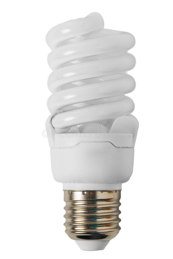 Energy saving light bulb in the form of a spiral royalty free stock image