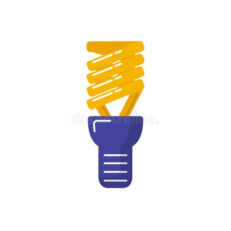 Energy saving light bulb icon in flat style. stock illustration