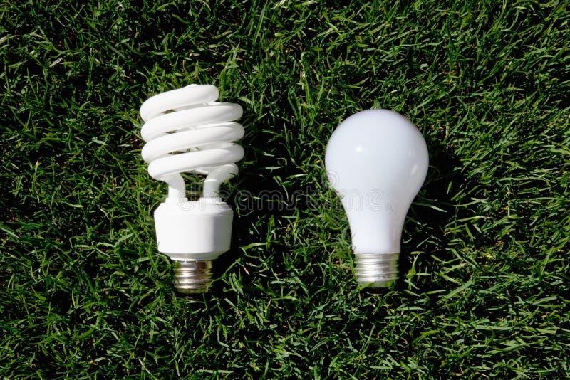 Energy Saving Light Bulb and Incandescent Bulb royalty free stock photos