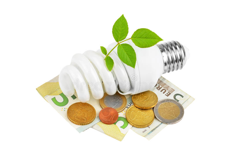 Energy saving light bulb, money and plant royalty free stock images