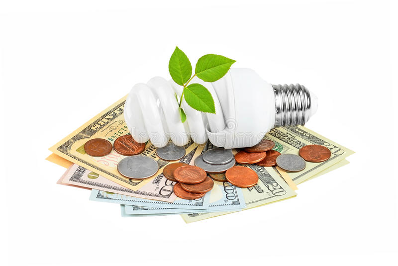 Energy saving light bulb, money and plant royalty free stock photo