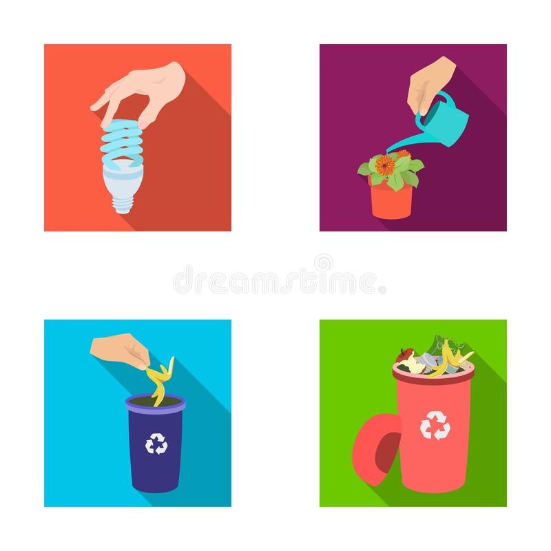 Energy-saving light bulb, watering a houseplant and other web icon in flat style. garbage can with waste and garbage royalty free illustration
