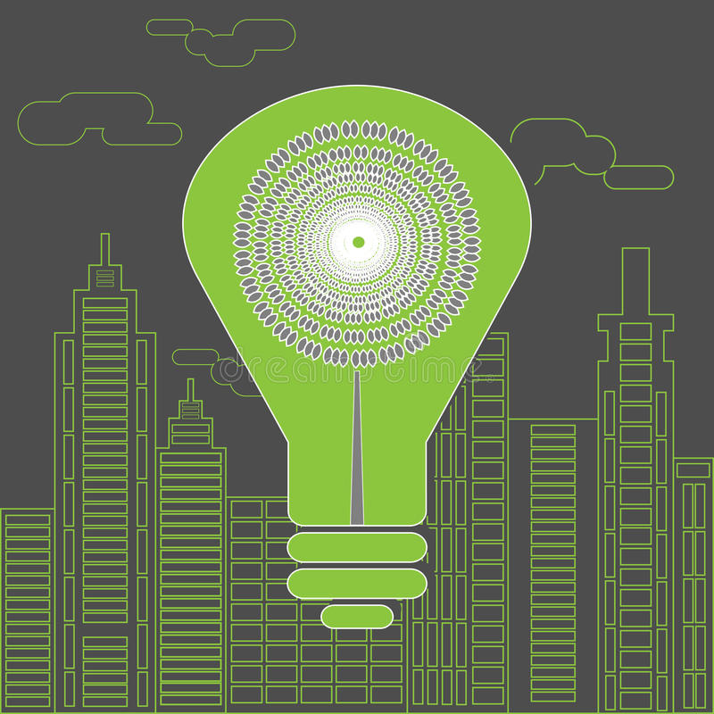 Energy saving lightbulb in front of the skyscrapers. royalty free illustration