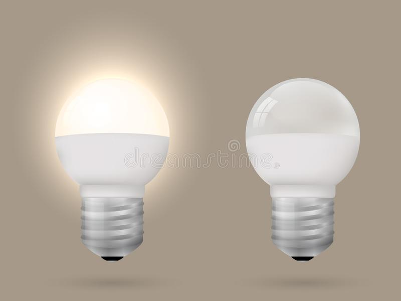 Energy-saving lighted and switched off light bulb. stock illustration