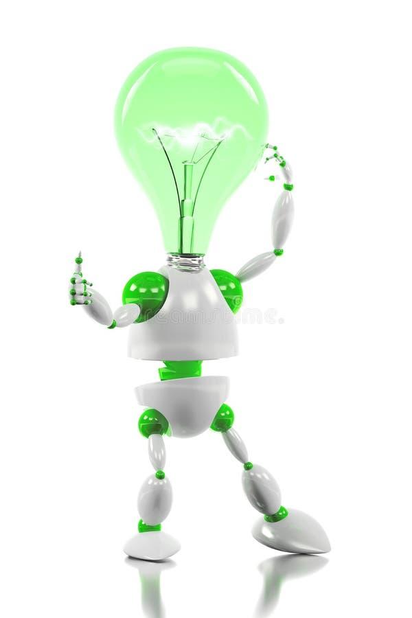 Energy saving robot having a good idea concept vector illustration