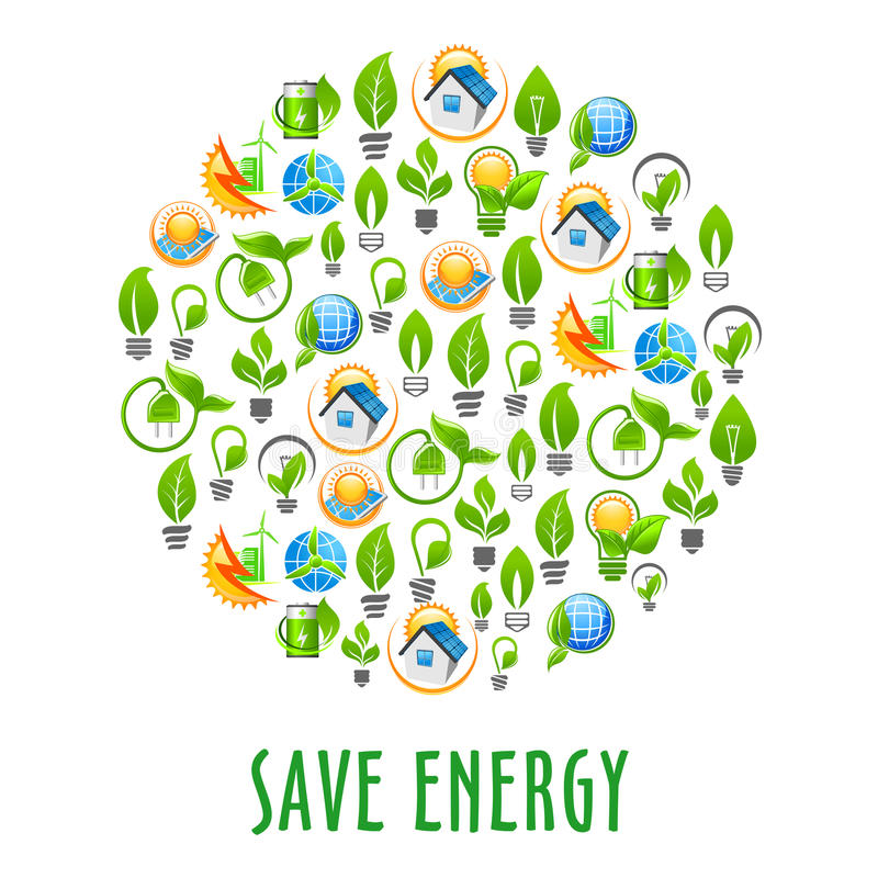 Energy saving round symbol with green power icons royalty free illustration