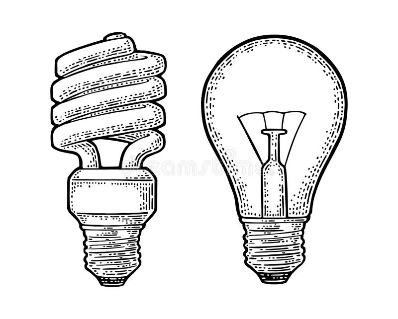 Energy saving spiral lamp and glowing light incandescent bulb. Engraving stock illustration