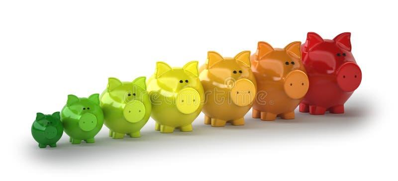 Energy-saving varkens stock illustratie