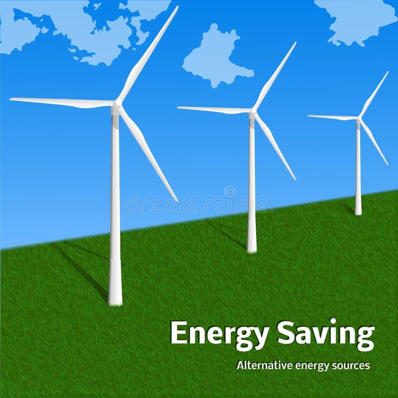 Energy saving wind turbine concept background, realistic style vector illustration