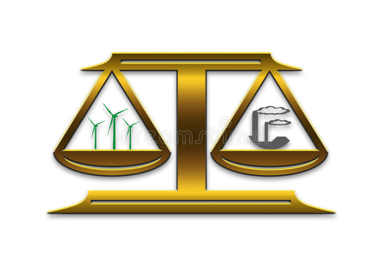 Energy scale. Balance between clean wind energy and dirty fossil-fuel and coal fired plants vector illustration