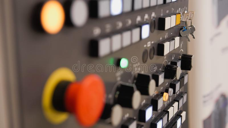 Energy security - system management panel. Red power button - industrial remote control. royalty free stock images
