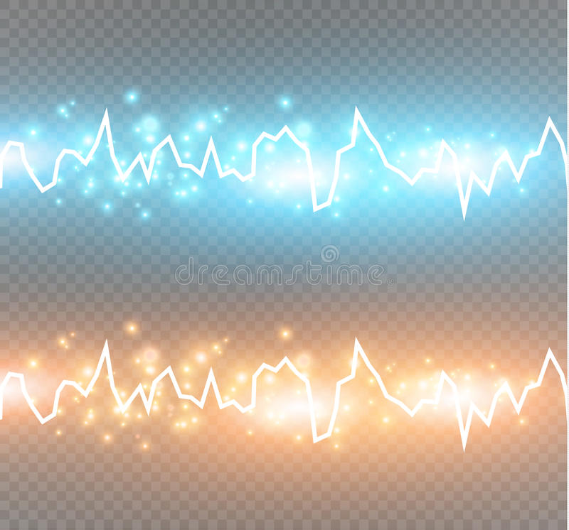 Energy shock effect with many glowing particles. Electric discharge on transparent background. Vector illustration royalty free illustration
