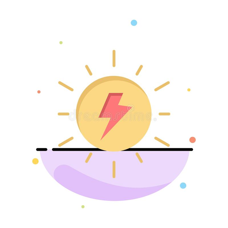 Energy, , Solar, Sun, Charge Abstract Flat Color Icon Template vector illustration