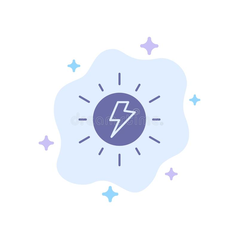 Energy, , Solar, Sun, Charge Blue Icon on Abstract Cloud Background royalty free illustration