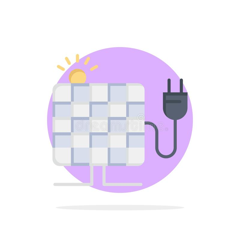 Energy, Solar, Sun, Plug Abstract Circle Background Flat color Icon royalty free illustration