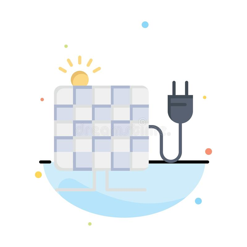 Energy, Solar, Sun, Plug Abstract Flat Color Icon Template stock illustration
