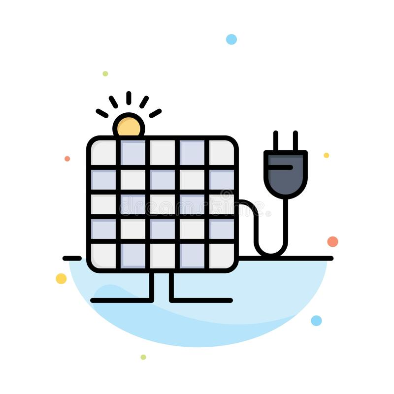 Energy, Solar, Sun, Plug Abstract Flat Color Icon Template royalty free illustration
