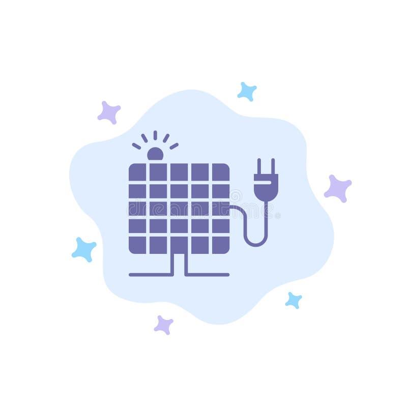 Energy, Solar, Sun, Plug Blue Icon on Abstract Cloud Background stock illustration
