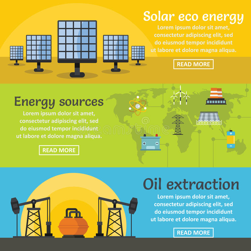 Energy sources banner horizontal set, flat style. Energy sources banner horizontal concept set. Flat illustration of 3 energy sources vector banner horizontal stock illustration