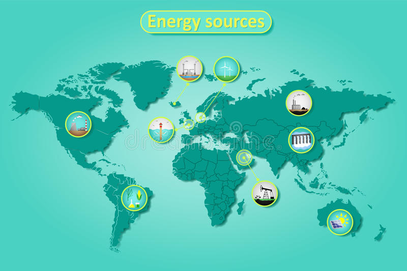 Energy sources. Electric power and energy sources in different countries on world map. Infographics vector illustration stock illustration
