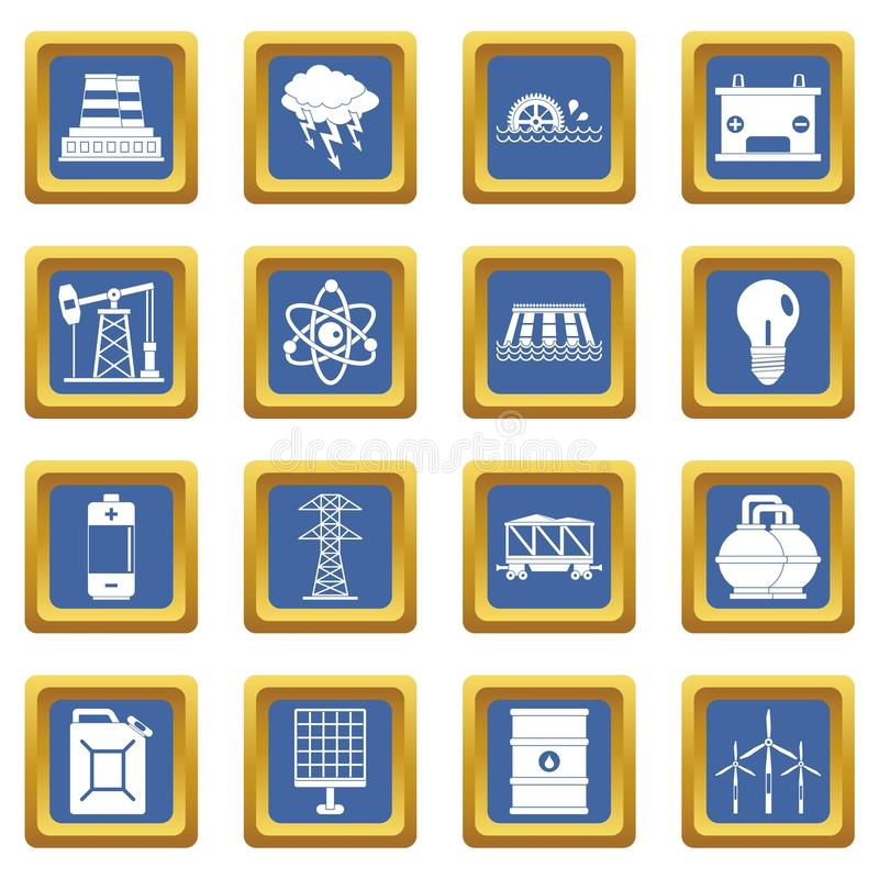 Energy sources items icons set blue. Energy sources icons set in blue color isolated vector illustration for web and any design royalty free illustration