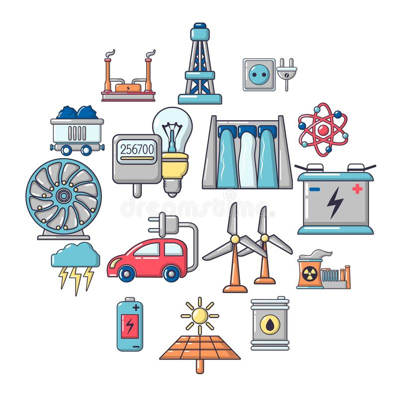 Energy sources icons set, cartoon style. Energy sources icons set. Cartoon illustration of 16 energy sources vector icons for web vector illustration